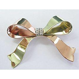 Fine Vintage Ribbon 2-Color Diamond Pin / Brooch