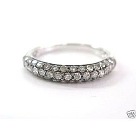 Black Enamel Natural Diamond Pave Set Band Ring 14Kt .81Ct Sizeable