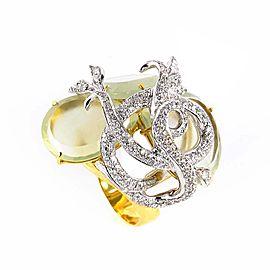 LeaderLine 18K Multi Gold Green Quartz & Diamond Ring Size 7.25