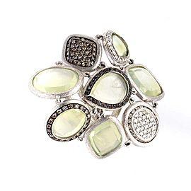 18K White Gold Green Quartz & Multi Diamond Ring Size 6.75