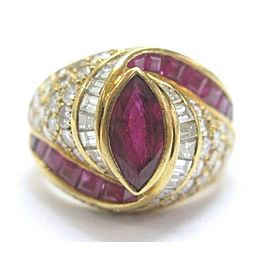 Gem Ruby & Diamond Ring 18Kt Yellow Gold 4.35CT PIGEON RED GORGEOUS