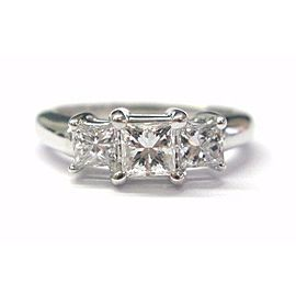 Princess Cut Diamond Three-Stone Engagement Ring Solid White Gold 14Kt .98CT