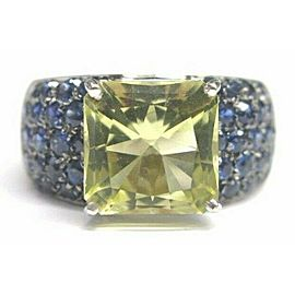Natural Green Tourmaline & Blue Sapphire White Gold Jewelry Ring 18Kt 7.56CT