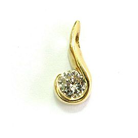 Round Diamond Solitaire Pendant 14kt Yellow Gold .54Ct G-VS1