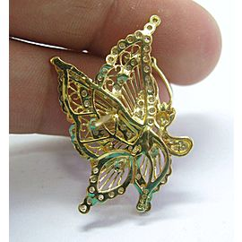 18Kt Butterfly Diamond Pin & Pendant/Pin Solid Yellow Gold 1.50Ct 2X