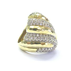 18Kt Henry Dunay Diamond SOLID Yellow Gold Hammered Dome Ring 2.75Ct
