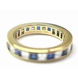 Tiffany & Co Blue Sapphire & Diamond Eternity Band Yellow Gold 1.40CT SZ 5.25
