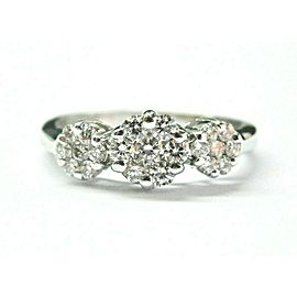 Diamond Cluster Past Present Future Ring 18Kt White Gold .85Ct F-VS1