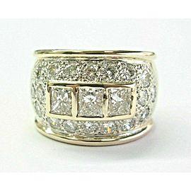 Princess & Round Diamond WIDE Ring 14Kt Yellow Gold 3.00Ct 15.7mm