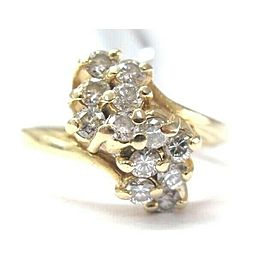 Natural Round Diamond Waterfall Cluster Yellow Gold Jewelry Ring 14Kt .70Ct