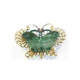 Fine Jade Hand Carved Pearl & Ruby Pin/Brooch Yellow Gold 14KT 2.25""