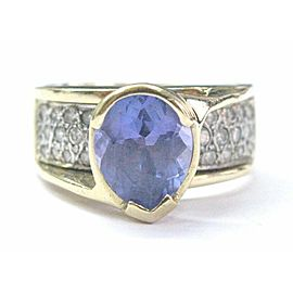 Oval Tanzanite & Pave Diamond Ring Solid Yellow Gold 14Kt 3.53Ct