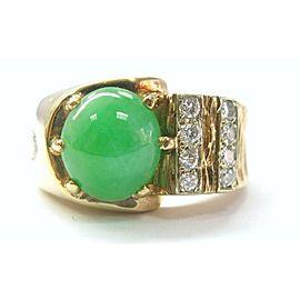 Fine Jade Diamond Anniversary Jewelry Ring Yellow Gold 14KT 3.81CT