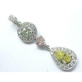 "BJB Platinum NATURAL Diamond Drop Color Diamond Pendant 1.5"" 1.57Ct GIA"