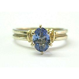 Natural Oval Tanzanite Two-Tone Gold Solitaire Ring .75Ct AA-VS