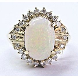 18Kt Opal & Diamond Yellow Gold Solitaire W Accent Jewelry Ring 4.38Ct