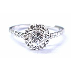 Round Diamond Halo Engagement Ring Solid 14KT White Gold .90CT G/VS2 SIZEABLE