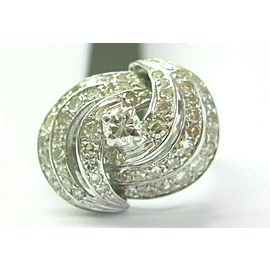 Vintage Single Cut Diamond White Gold Bypass Cocktail Ring 1.50Ct 14KT