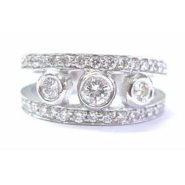 Round Cut Diamond Wide Three-Stone Ring 14KT White Gold 1.06Ct