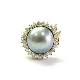 Mabe Pearl & Diamond Ring 18Kt Yellow Gold 13mm .85Ct