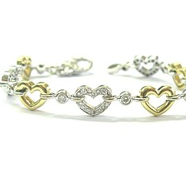 Two-Tone Diamond Heart Shape Bracelet 18Kt Gold 1.00Ct F-VS1 7""