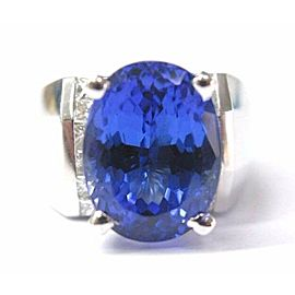 18KT NATURAL Gem Tanzanite Diamond Anniversary SOLID White Gold Ring 8.90CT