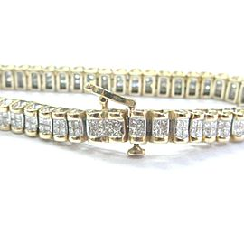 Fine Princess Cut Diamond Invisible Setting YG Tennis Bracelet 3.12Ct 6.75""