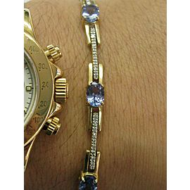 Tanzanite & Diamond Tennis Bracelet 14Kt Yellow Gold 6.95Ct 7""