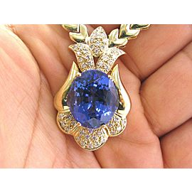 """NATURAL Gem Tanzanite & Diamond SOLID Yellow Gold Necklace 17"""" 20.52Ct AAAA/VS"""