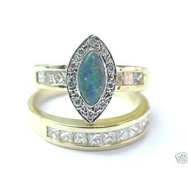 Natural Opal & Diamond Princess Cut Solid Yellow Gold Engagement Set 14Kt 1.30Ct