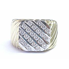 Men's 5-Row Round Cut Diamond Ring Solid 14KT Yellow Gold 1.20Ct G-VS2 SIZEABLE