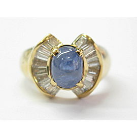 Star Sapphire & Diamond Yellow Gold Ring 18Kt 3.88Ct Sizeable