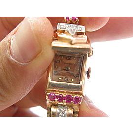 "Vintage Champ Rose Gold Ruby Diamond Watch 6.5"" .60Ct"