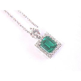 "18Kt Gem Green Emerald & Diamond White Gold Pendant Necklace 16"" 1.85Ct AAA"