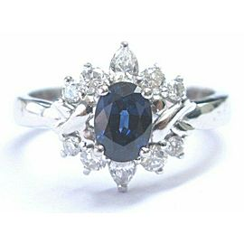 Oval Ceylon Sapphire & Diamond Solid White Gold Jewelry Ring 1.21Ct 14K SIZEABLE