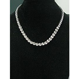 Fine Bezel Set Round Cut Diamond White Gold Riviera Necklace 3.00CT 16""