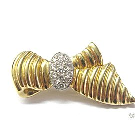 Fine 18Kt Ribbon Diamond Pin/Prooch Yellow Gold 0.50CT