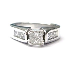 Fine Princess Cut Diamond Engagement White Gold Ring 18KT 1.15CT