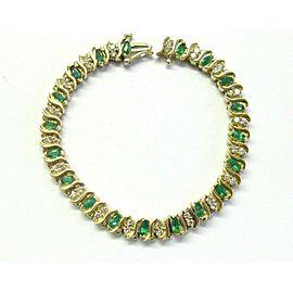 "Colombian Green Emerald & Diamond Tennis Bracelet 14Kt Yellow Gold 3.64Ct 7"""