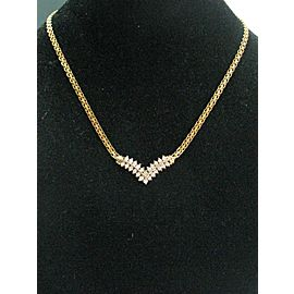 Fine Round Cut Diamond 2-Row Yellow Gold Necklace .80Ct 16""