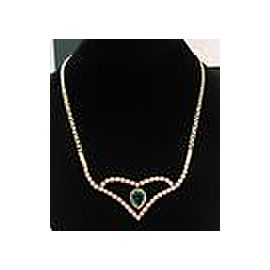"""Colombian Green Emerald & Diamond Necklace 18Kt Yellow Gold 17"""" 8.16Ct F-VS2"""
