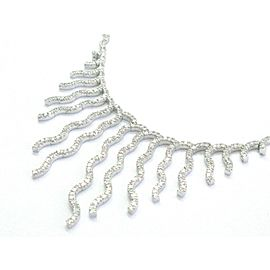 "NATURAL Round Diamond Line Drop SOLID White Gold Necklace 17"" 3.00Ct"