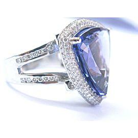 18Kt NATURAL Trillion Vivid Tanzanite Diamond White Gold Jewelry Ring 22.14Ct