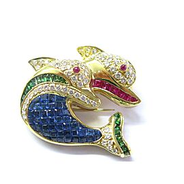 Double Dolphin Natural Diamond & Multi Gem Stone Pin Brooch 18Kt 4.23Ct F-VVS2