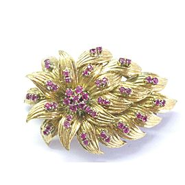 18t Gem Ruby Yellow Gold Pin / Brooch 1.00ct 1.75""
