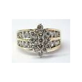 Marquise Shape Cluster Diamond Solid Yellow Gold Jewelry Ring 10KT 1.96Ct