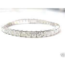 "Natural Princess Cut Diamond White Gold Tennis Bracelet 7"" 16.84Ct 42-Stones"