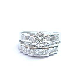 Fine Round & Princess Cut Diamond White Gold Engagement Wedding Set 14Kt 1.50Ct