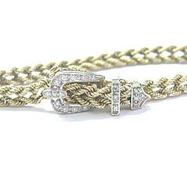 "Fine Rope Buckle Diamond Yellow Gold Bracelet 7.5"" .30Ct"