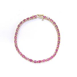 "Fine Gem Ruby Oval Shape Yellow Gold Tennis Bracelet 33-Stones 7"" 10.00Ct"